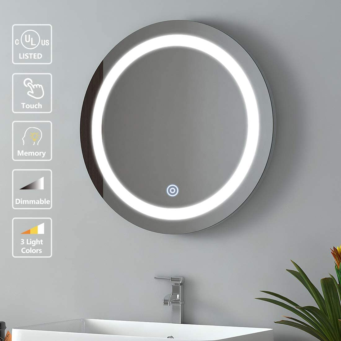 EMKE LED Bathroom Mirror 24 Inch Round Wall Mounted Vanity Mirror with Light, Smart Touch Switch and Dimmable Brightness Memory Makeup Mirror,Waterproof IP44 and UL Listed