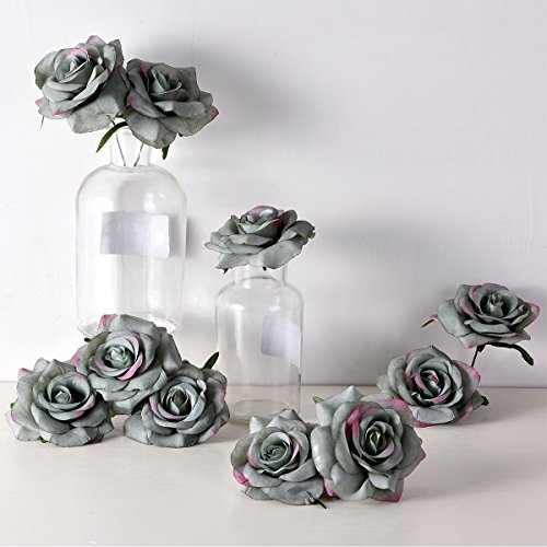 PARTY JOY Artificial Silk Rose Flower Heads Fabric Floral DIY For Wedding Home Flower Wall Decor,Pack of 10 (Vintage foggy - Diy Decor Party