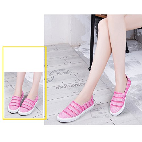 Pink On Casual Womens shoes Slip Canvas amp;N O Breathable Flat xYFw7Zzq