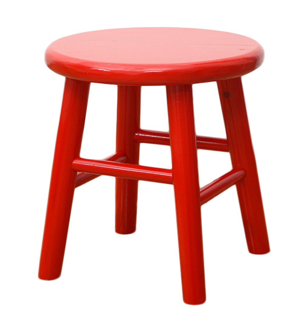 Sigmat Wood Kid Round Stools and Toddler Chair Red