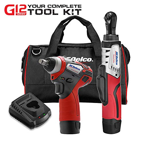 ACDelco G12 Series 2-Tool Combo Kit- 1/4 in. Brushless Ratchet Wrench + 3/8 in. Power Impact Wrench, two battery, charger, and canvas tool bag, ARW12102-K3