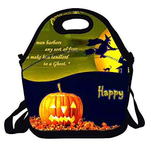 Love fled Happy Halloween Quotes Reusable Zippered Top Insulated Lunch Bag