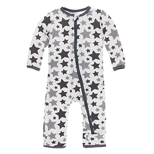 Kickee Pants Little Boys and Girls Essentials Print Coverall with Zipper - Feather/Rain Stars, 0-3 Months