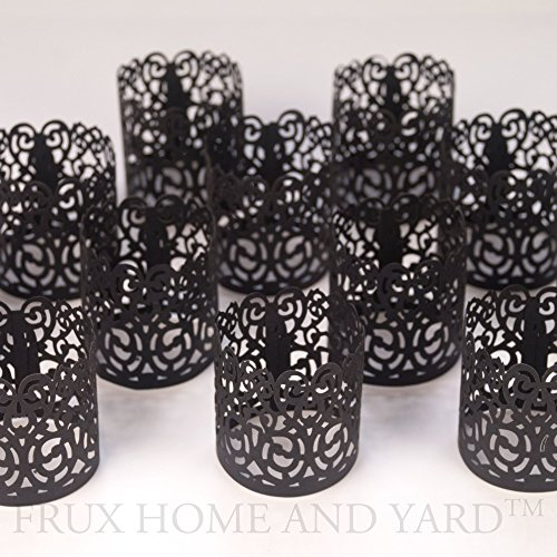 FLAMELESS TEA LIGHT VOTIVE WRAPS- 48 Black colored laser cut decorative wraps for Frux Home and Yard Flickering LED Battery Tealight Candles (not included)