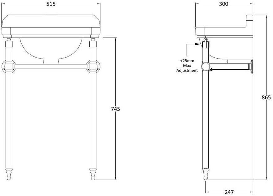 Lavabo R/étro 2 Trous avec Porte-Serviettes Int/égr/é Hudson Reed 52 x 30cm Gamme Old London