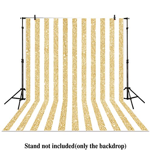 Personalized Photo Booth Backdrop (Allenjoy 6x8ft photography backdrops party Gold and white Stripes Golden Glitter glamour Sparkle Birthday wedding Adults Party banner photo studio booth background photocall)