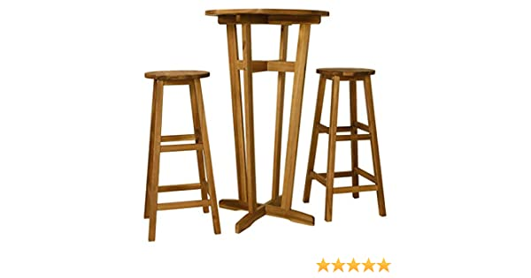 Tidyard Bar Table and Stool Breakfast Kitchen Dining Table Set 3 Pieces Solid Acacia Wood delivery includes1 table and 2 stools