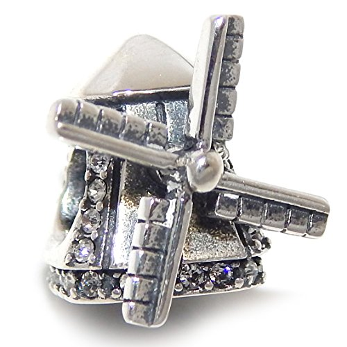 Pro Jewelry 925 Solid Sterling Silver Windmill with Spinning Blades and Clear Crystals Charm Bead
