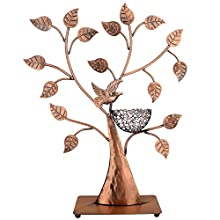 MyGift Jewelry Tree Bronze Bird Nest 48 Pair Earrings Holder, Bracelets/Necklace Organizer Stand