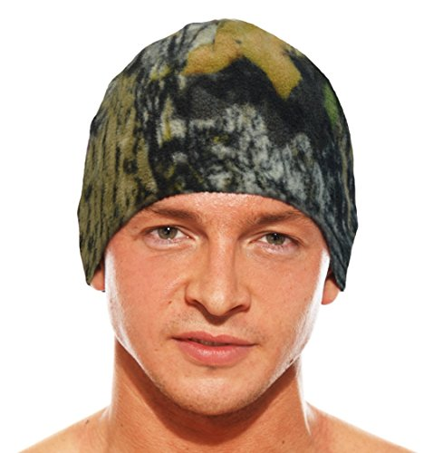 (Mossy Oak Reversible Fleece Beanie with Hidden Zipper )