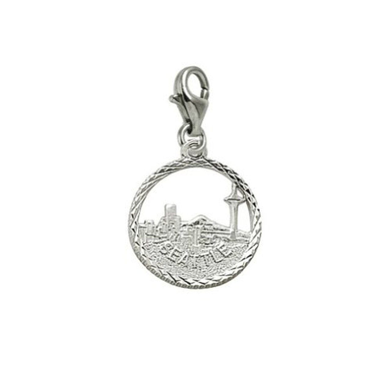 Charms for Bracelets and Necklaces Seattle Skyline Charm With Lobster Claw Clasp