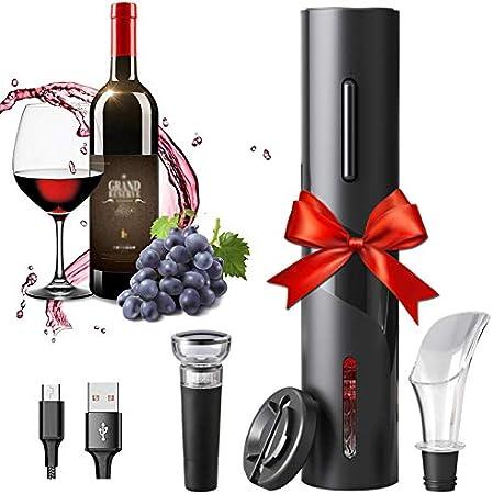 Amdo Profesional Automatico Abrelatas de Vino, Abrebotellas De Vino Carga con un USB, Cortacápsulas, Tapón de Vino Silicona, Aireador Vertedor, Restaurante, Fiesta, Gift For Family
