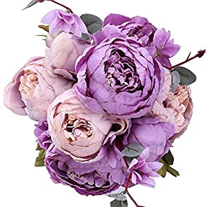 RTWAY Fake Flowers, Vintage Artificial Peony Silk Flowers Bouquet Wedding Home Centerpiece Decoration, Pack of 1 (Pale Pink + Purple) 77