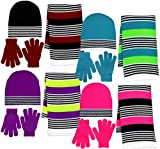 Girl's 3 Piece Knit Hat, Scarf & Gloves Set (Purple-Neon Yellow), OSFM