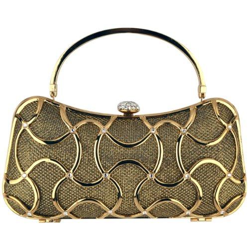 Metallic Gold Woven Top Handle Bag (MG Collection Marya Metallic Woven Minaudiere Evening Bag, Gold, One)