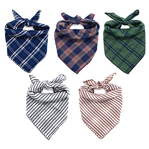 WanKoo Dog Bandanas 5 Pack, Reversible Plaid Printing Dog Scarf Boy and Girl Dogs Handkerchief Washable Triangle Bibs for Small Medium and Large Dogs