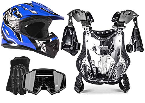 Kids Youth Offroad Helmet Gloves Goggles Chest Protector GEAR COMBO Motocross ATV Dirt Bike MX Black Blue (XL)