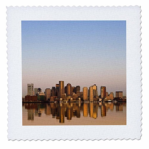 3dRose Ma, Boston. Financial District From Logan Airport - Us22 Wbi0581 - Walter Bibikow - Quilt Square, 6 by 6-Inch (qs_91018_2)