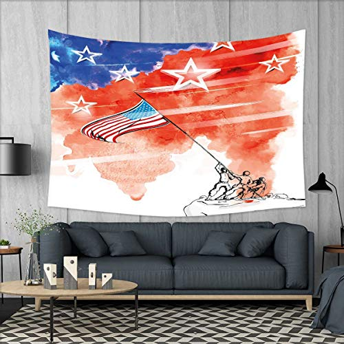 smallbeefly 4th of July Customed Widened Tapestry Watercolor