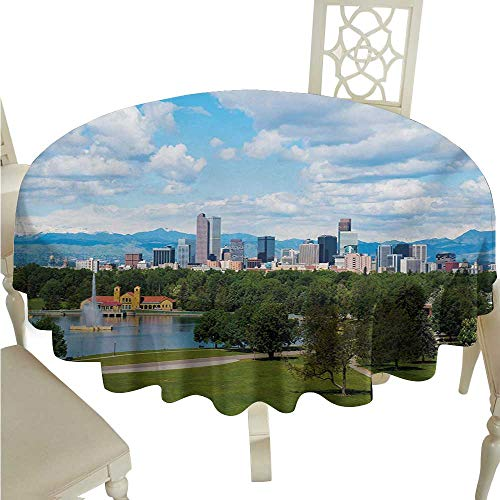 Zodel Stain-Resistant Tablecloth Urban City Park at Denver Colorado Downtown Tree and Architecture Sunny Panorama Easy to Clean D36 Suitable for picnics,queuing,Family]()