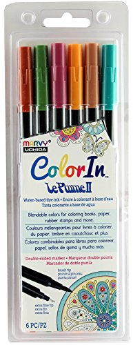 America Double Tip Marker (UCHIDA 1122-6M 6 Piece Colorin Le Plume II Coloring Book Pens, Natural)