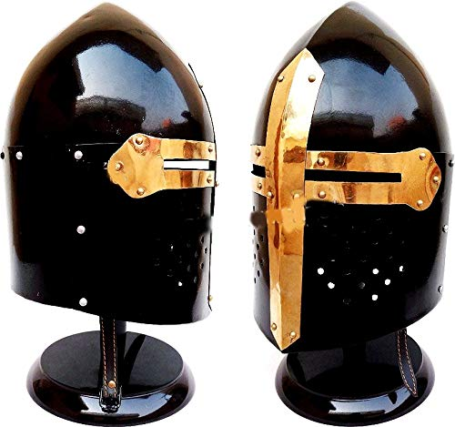 (Medieval Knight Ancient Armor Roman Helmet Sugarloaf Spartan Helmet with Stand Black)
