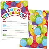 All Occassion Invitations with Envelopes - Colorful Party Balloons (20 Count with Envelopes) - Fill in the Blank Style Invites for Kids or Adults - Boys or Girls Birthday, Baby Shower Invites
