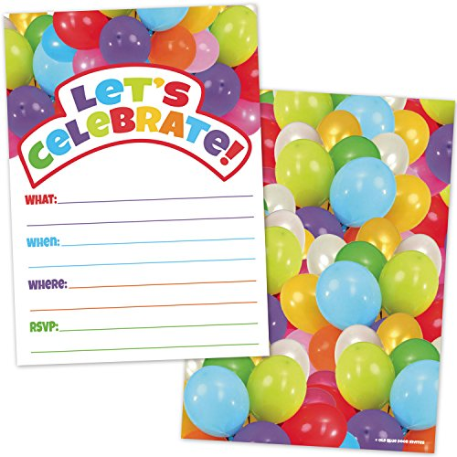 (All Occassion Invitations with Envelopes - Colorful Party Balloons (20 Count with Envelopes) - Fill in the Blank Style Invites for Kids or Adults - Boys or Girls Birthday, Baby)
