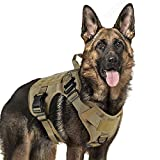 Tactical Dog Harness Large Service Dog Vest with Handle, Military Dog Safety Harness with Molle and Velcro Strips, No-Pull Adjustable Training Vest with Metal Buckles and Leash Clips for Outdoor Hiking