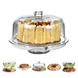 HBlife Acrylic Cake Stand Multifunctional Serving Platter and Cake Plate With Dome (6 Uses)