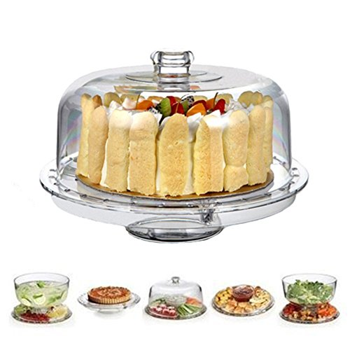 HBlife Acrylic Cake Stand Multifunctional Serving Platter and Cake Plate With Dome (6 Uses) (Glass Dome Cupcake Stand)