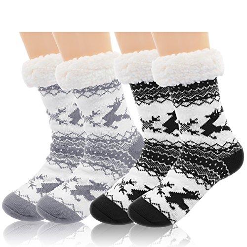 2 Pairs Women's Winter Fleece Lined Thermal Fuzzy Christmas Slipper Socks With Grippers (Fleece Sock)