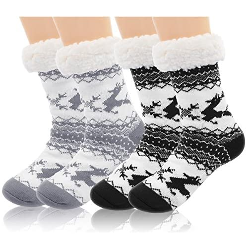 2 Pairs Women's Winter Fleece Lined Thermal Fuzzy Christmas Slipper Socks With Grippers