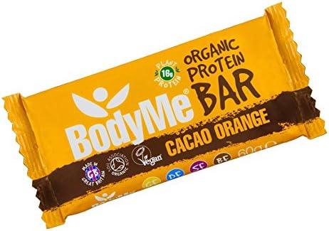 BodyMe Barra de Proteína Vegana Orgánica   Crudo Cacao Naranja   60g   Con 3 Proteínas Vegetales
