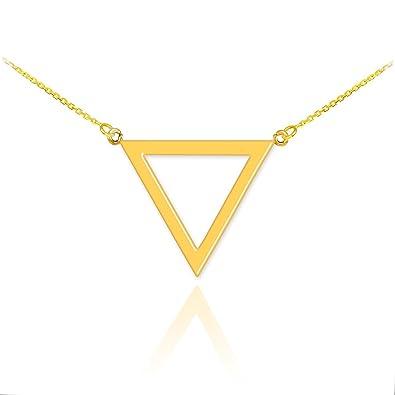 b66357975b02c High Polish 14k Yellow Gold Geometric Pendant Inverted Triangle Necklace