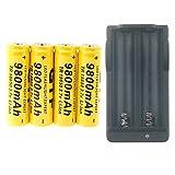 Hossen GTF 4pcs 3.7V 18650 Led Flashlight 9800mAh Li-ion Rechargeable Battery + Charger