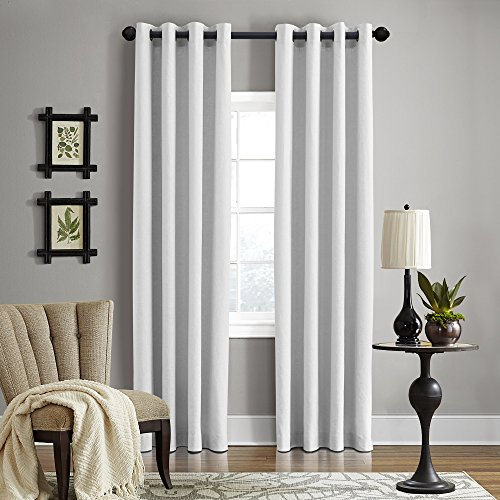 """Veratex Gotham Collection Contemporary Style 100% Linen Bedroom Grommet Fastener Style Curtain, 120"""" Long, Optical White"""