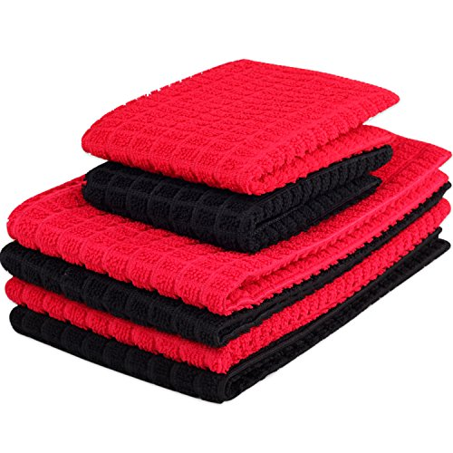 Kleanner 6 Packs Microfiber Kitchen Dish Cloth and Towel Set, Two Dish Cloth With Mesh Scour Side 12 x 12 Inch, Four Dish Towels 16 x 19 Inch, Absorbent and Fast Dry (Red and Black Color) (And Red Black Dishes)