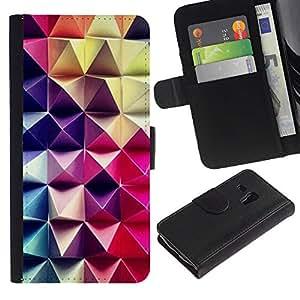 iKiki Tech / Cartera Funda Carcasa - 3D Art Purple Pink Checkered Pattern - Samsung Galaxy S3 MINI NOT REGULAR! I8190 I8190N