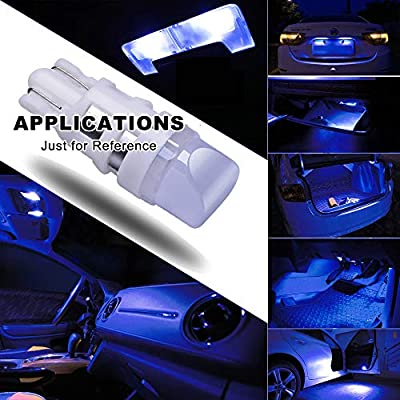 DODOFUN Deep Blue T10 W5W 168 194 2825 501 LED Bulbs For Car Number Plate Interior Boot Dome Lights Pack of 10: Automotive