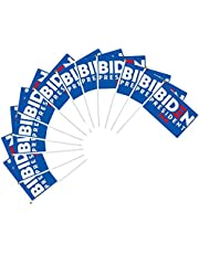 "12 Pack Joe Biden 2020 Flag for President Election Hand Flag American Presidential Mini Flag Democrat Party Poster Sign, 8.2"" x 5.5"" Handheld Stick Flag with 12"" White Solid Pole"