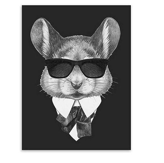 UUHAI Póster Blanco Y Negro Moda Mafia Hipster Animales Perro Gato ...