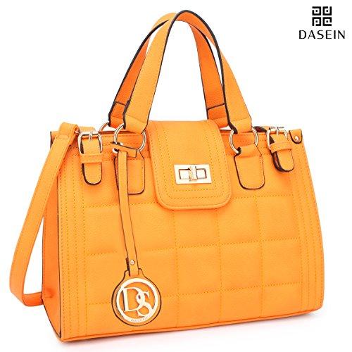 Dasein Women's Structured Designer Satchel Handbag Work Bag Shoulder Bag With Matching Wallet (2-6893 Yellow without wallet)