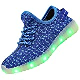 FASHOE Kids Boys Girls Breathable LED Light up Shoes Flashing Sneakers-3001-Blue-35