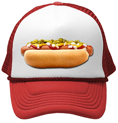 HOT DOG - concession truck fair carnival snack food Mesh Trucker Cap Hat, ()