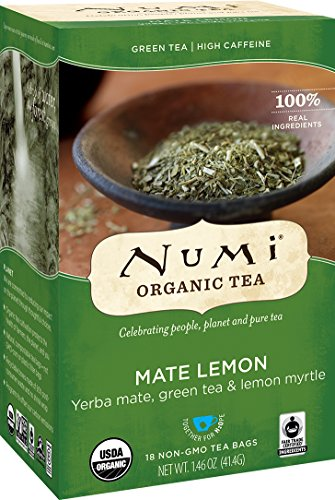 Numi Organic Tea Mate Lemon, 18 Bags, Organic Yerba Mate with Green Tea & Lemon Myrtle in Non-GMO Biodegradable Tea Bags (Packaging May Vary), Premium Organic Tea, Drink Hot or Iced