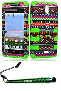 FoxyCase(TM) FREE stylus AND Huawei H881c Ascend Plus Y301 Valiant RibCase Tribal Green