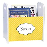 Personalized Tiles Yellow Gold White Book Caddy and Rack