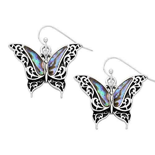 Liav's Butterfly Fashionable Earrings / Vine Filigree / Abalone Paua Shell / Dangle Post Fish Hook / Unique Gift and Souvenir by - Shell Butterfly Paua