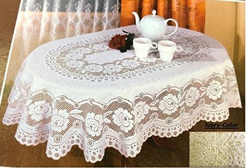 (Fine European Polish Lace Table Cloth (Ivory, 70''x100'' Oval))